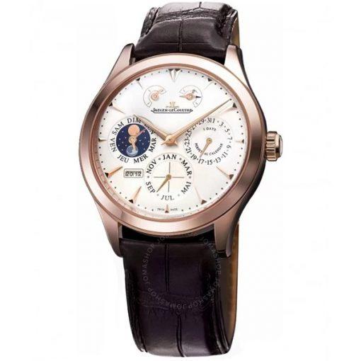 JAEGER LECOULTRE Q1612420 Master Eight Days Beige Dial Perpetual Calendar 18kt Rose Gold Men's Watch