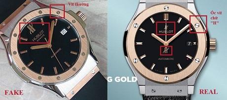 Sự khác biệt ở chi tiết ốc vít của đồng hồ Hublot fake và chính hãng