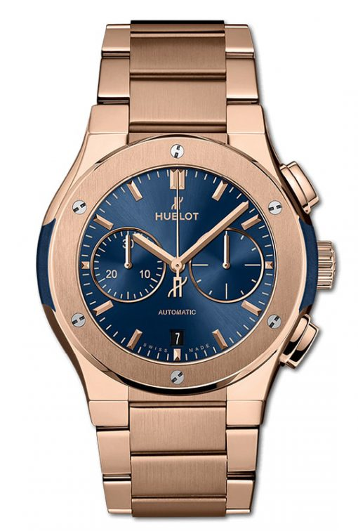 Hublot Classic Fusion Chronograph King Gold Blue Bracelet 42mm