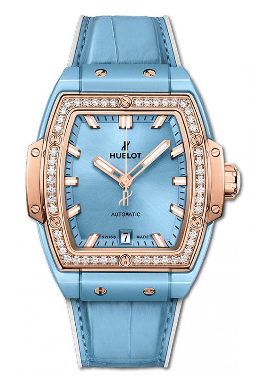 Hublot Spirit Of Big Bang Light Blue Ceramic King Gold Diamonds 39mm 665.EO.891L.LR