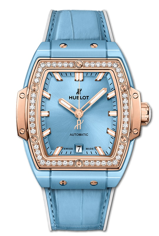 Hublot Spirit Of Big Bang Light Blue Ceramic King Gold Diamonds 39mm 665.EO.891L.LR