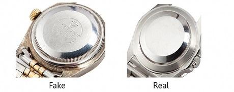Quan sát nắp lưng để phát hiện đồng hồ Rolex super fake