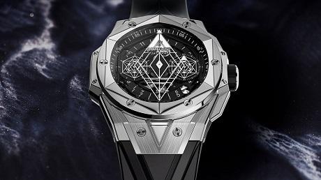 Đồng hồ nam Hublot Sang Bleu II với thiết kế hình học
