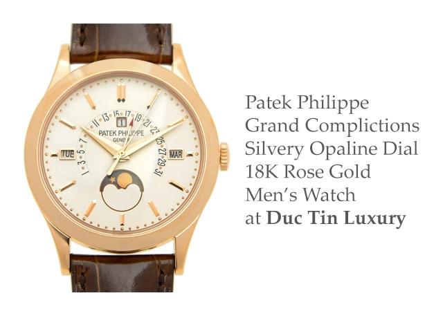 Đồng hồ nam Patek Philippe Grand Complications Silvery Opaline Dial 18K Rose Gold Men's Watch (Giá tham khảo: 1,945 triệu VNĐ)